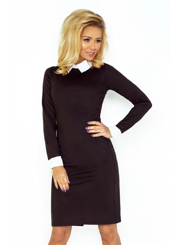8516e5c23a60 Čierne elegantné šaty s golierom od dajsistyle